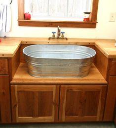 35 Ideas Farm House Laundry Sink Wash Tubs For 2019 Rustic Kitchen Sinks, Farmhouse Bathroom Sink, Rustic Laundry Rooms, Primitive Bathrooms, Rustic Bathrooms, Western Kitchen, Rustic Bathroom Vanities, Kitchen Country, Wooden Bathroom