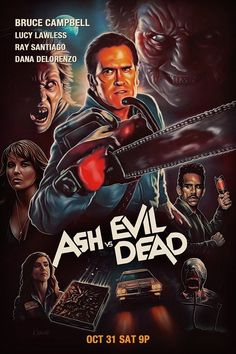 """""""Ash vs Evil Dead"""" retro style poster by kynky Horror Movie Posters, Movie Poster Art, Horror Films, Evil Dead Movies, Scary Movies, Classic Horror Movies, Iconic Movies, Arte Horror, Horror Art"""
