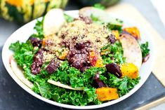 Roasted Butternut Squash with Kale and Almond Pecan Parmesan | Vegan ...