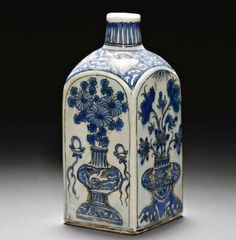 A Safavid Blue, Black and White Flask, Persia, 17th Century