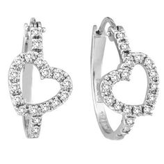 Diamond Heart Hoop Earrings in 14k White Gold (0.50ct)