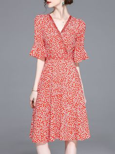 Red Bell Sleeve Floral-print Floral A-line Midi Dress 8fdb740152