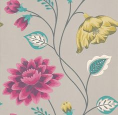 Albany Catwalk (97088) - Albany Wallpapers - A beautiful bold trailing floral design using metallic inks. Shown here with a dove background, silver stems, aqua leaves and bold raspberry and lime green flowers. Other colour ways available. Please request a sample for true colour match.