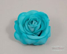 Teal Blue Rose Hair Clip / Brooch / Corsage Petite by GlamFloral, $18.00