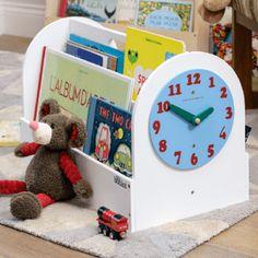 Book Box - White, Teal Wood Clock