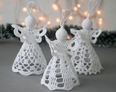 Items similar to Crochet angel silver edged Set of 3 Crochet white Christmas angels White silver decor Crochet Christmas ornaments Winter wedding decor on Etsy Crochet Angel Pattern, Owl Crochet Patterns, Crochet Angels, Crochet Christmas Wreath, Crochet Ornaments, Crochet Snowflakes, Chunky Crochet, Hand Crochet, Diy Spring Wreath