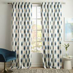 Cotton Canvas Ikat Gem Curtain - Blue Teal | west elm