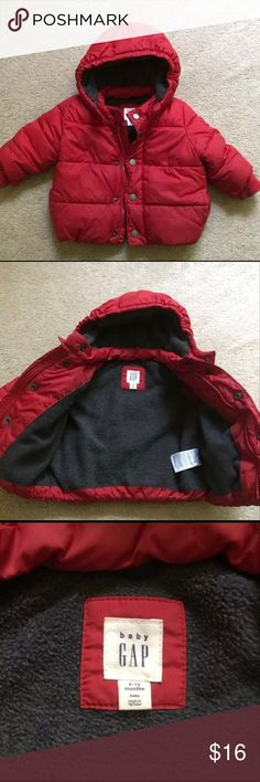 Baby Gap Red Puffer Coat Baby Gap Red Puffer coat with a gray fleece lining size 6-12 months Jackets & Coats Puffers