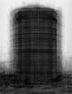 """Idris Khan - """"Every.Bernd And Hilla Becher Prison Type Gasholders"""" . Khan superimposed all of the photos taken by the Bechers of """"prison"""" type tanks to create this new ghostly image. Photography Words, Fine Art Photography, Advanced Photography, Japanese Photography, Photography Series, Photography Aesthetic, Exposure Photography, Contemporary Photography, Bernd Und Hilla Becher"""