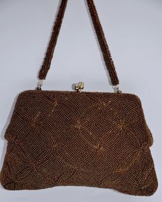 21 75 Bin 2 80pp Vintage 50s 60s Beaded Evening Bag Bronze Glass Clutch Handbag Foreign A1 Eveningbag Taileveningoccasion
