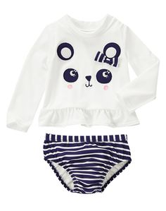 Gymboree Toddler Girl Flower Shower White and Navy Blue Panda Rash Guard Set