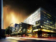 schmidt hammer lassen architects' rendering of their Waterfront Development in Shanghai.