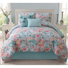 Teen Girls Gorgeous Reversible Aqua Coral White Floral Chevron Comforter Set in Home & Garden, Bedding, Comforters & Sets | eBay