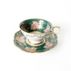 Vintage Schumann Bavaria Tea Cup - Forest Green, Gold, and Pink Ornate Teacup and Saucer Set - China German Teacup and Dish Plate