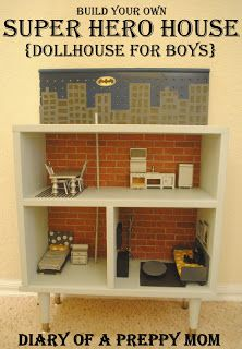 Great ideas for mini super hero/man cave houses. DIY Dollhouse Furniture on the Cheap.