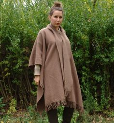 Snuggle up in this Vintage Wool Camel Fringed Poncho. 1980's. by blissjoybull on Etsy, $35.00. sale. clearance.