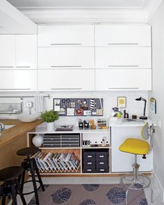 Smart office organization inspiration from Kevin Sharkey--especially for small spaces.