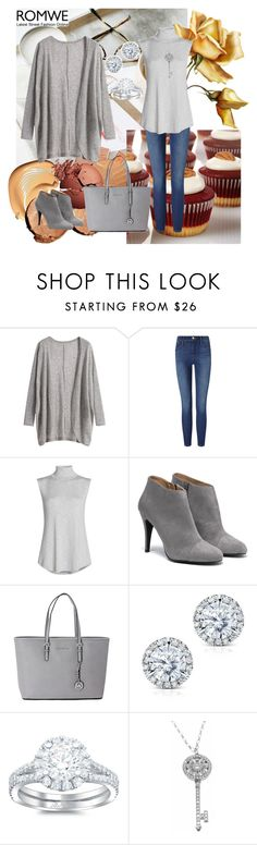 """RomWe Grey Cardigan"" by sarahguo ❤ liked on Polyvore featuring Frame Denim, NIC+ZOE, Michael Kors, Kobelli and Tiffany & Co."