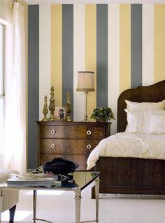 Behang van de week: Carnaby van Osborne & Little Yellow Bedding, Wallpaper Stickers, Dresser As Nightstand, Yellow And Brown, Home Bedroom, Interior Inspiration, Paint Colors, Pastel, Curtains