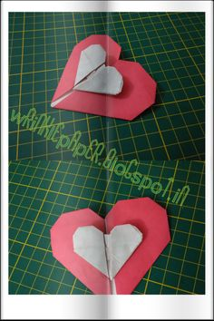 Two Hearts - or - Heart in Heart Paper - Two Tone Paper Size - 15 x 15 cm Square ( you can use any size.) I have come acrossed this model in my origami app and made it from diagrams. For more information and clear instruction I have added video tutorial , made by Sara Adams.  Enjoy it... Gift it to your loved ones.  http://wrinklepaper.blogspot.in/2015/11/one-body-two-hearts-intermediate-model.html