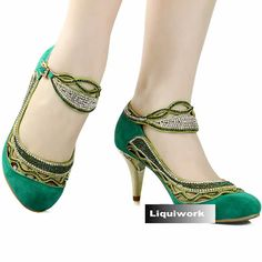 Designer Green High Heel Wedding Ball Bridesmaid Party Mary Jane Shoes SKU-1090778