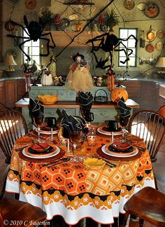 Halloween Table Cloth craig coss illustrations for pottery barn kids tabletop plates and tablecloth halloween 2011 Vintage Halloween Tablescapes Tablecloths From The Little Round Table Fallani And Cohn Orange Gold