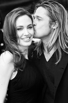 Angelina Jolie & Brad Pitt. You need to remind yourself that the little touches will keep the love alive.♥♥