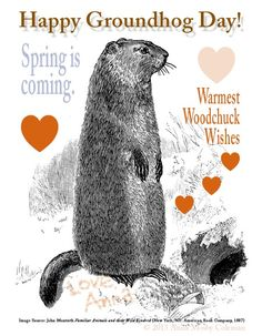 Groundhog Card Spring Is Coming Happy Groundhog Day, Art Prompts, Wishes Images, Spring Is Coming, Birthday Fun, Four Seasons, Happy Day, Ground Hog, Activities For Kids