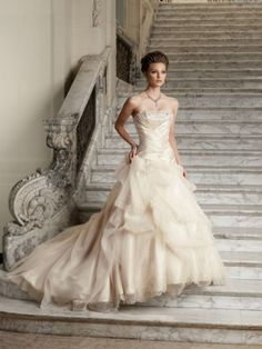 A-line Strapless Applique Sleeveless Sweep/Brush Train Organza Wedding Dresses For Brides - Angela Mall