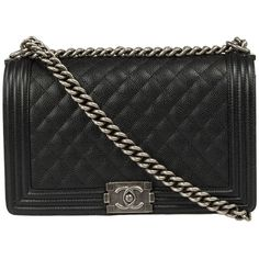 Chanel Boy Quilted Flap Bag Caviar Calfskin Leather (6,345 CAD) ❤ liked on Polyvore featuring bags, handbags, black, chanel, black purse, zip pouch, chanel purses, crossbody purse and black quilted handbag