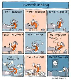 """""""Overthinking"""" Poster sold by Incidental Comics. Shop more products from Incidental Comics on Storenvy, the home of independent small businesses all over the world. Life Comics, New Thought, Funny Comics, Archie Comics, Comic Strips, Webtoon, Good Books, Doodles, Jokes"""