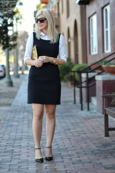 Discover this look wearing Black Jumper Gap Dresses, Ivory Polka Dots Kohls Tops - Preppy by LivinginColor styled for Chic, Everyday in the Spring Preppy Business Casual, Business Professional Outfits, Business Attire, Business Fashion, Business Formal, Preppy Work Outfit, Preppy Style, Preppy Fashion, Formal Fashion