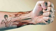 Bruce Lee tattoo. Awesomeness. Forearm tattoo