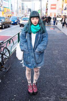 Chipa wearing oversized acid wash jacket & fishnets