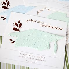 Personalized Designer Graduation Seed Card Favor -- eco-friendly