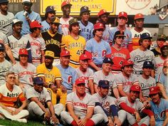 """Behold the color explosion that was the 1977 National League All-Star team:"" Baseball Pitching, Baseball Scores, Baseball Pants, Sports Baseball, Baseball Stuff, Baseball League, Sports Teams, Baseball Field, Football"