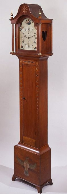 Eli Terry  Federal inlaid and painted cherry tall-case clock  Plymouth, Connecticut, circa 1810  Private collection