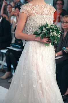 spectacular beading and lily of the valley at Oscar De La Renta Bridal Spring 2015