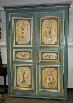 Huge Antique 18th Century Italian Painted Armoire Cabinet   eBay