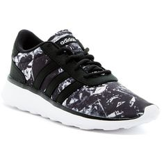 adidas Lite Racer Running Shoe ($50) ❤ liked on Polyvore featuring shoes, athletic shoes, running shoes, laced shoes, lace up shoes, print shoes and round cap