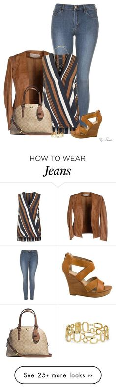 """Leather"" by ksims-1 on Polyvore featuring Topshop, Seychelles, Coach, Kate Spade and Blue Nile"