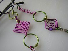 Eyeglass Chain w Craft Wire Shapes in Lime Green/Hot Pink Whimsical!