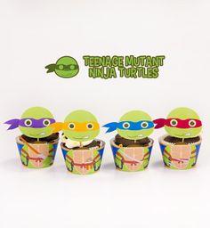 Teenage Mutant Ninja Turtles Inspired Cupcake Toppers Wrappers Birthday Party Printables / Instant Digital Download DIY
