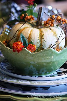 Nothing says Fall like this pretty white pumpkin centerpiece!