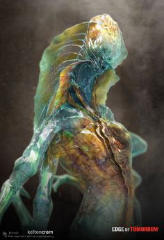 """Conceptual illustrator, Kelton Cram (""""The Amazing Spider-Man has released concept art that he created for Doug Liman's Edge of Tomorrow. These are early designs for the film's aliens, known as Mimics. Alien Creatures, Fantasy Creatures, Mythical Creatures, Alien Concept Art, Creature Concept Art, Creature Feature, Creature Design, Alien Character, Character Art"""