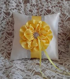 Yellow Ring Bearer Pillow / Canary & White by AllAHeartDesires, $55.00