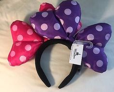 Disney Minnie Mouse Double Large Bow Headband Hat Ears Pink n Purple NEW  tags on f1683dfac99f