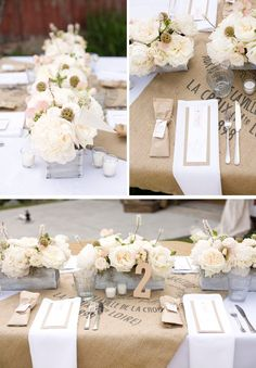Love these burlap sacks used as table decor (#rustic weddings, #white weddings)