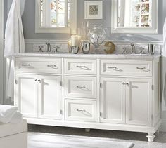 Kinda like this look for the master bath. Might want a dark wood? Though, the white on white makes a spa feel....