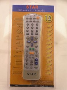 STAR Universal Remote by Star. $12.44. It can control most brands of TV-sets, Recorders, Cabel TV Boxes, TV Tuners, Disc Players, and Satellite Receivers